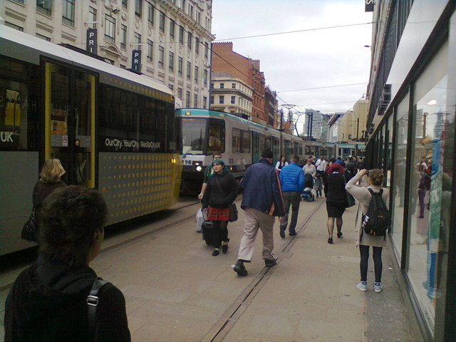 Tram Jam on Market Street, Manchester
