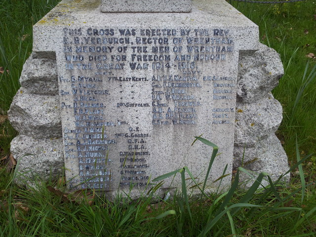 Name of the fallen on the Wrentham War memorial 1