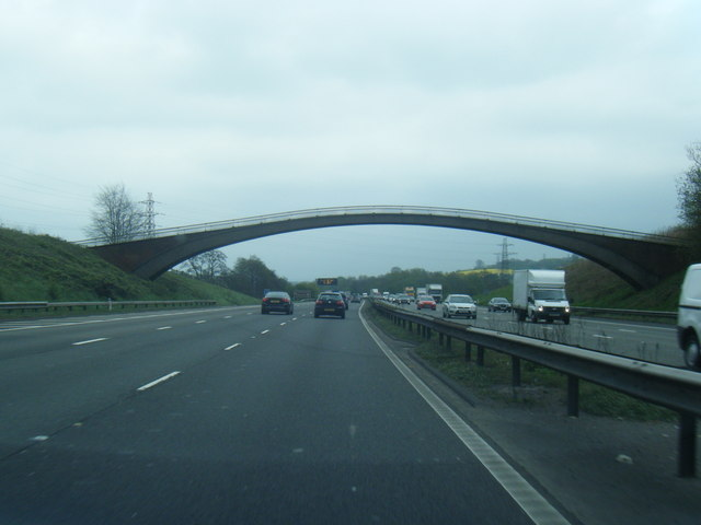 M6 South, footbridge near Seabridge