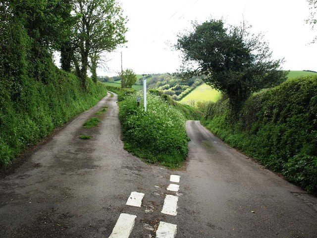 Minor road junction South of Bickington Barton