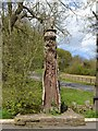 SK3372 : Wood carving Linacre Reservoirs car park : Week 19