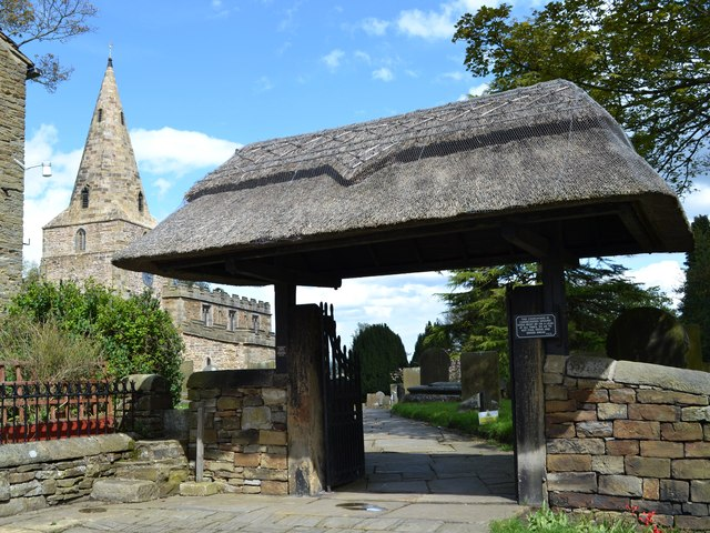 The thatched lych gate - Old Brampton church