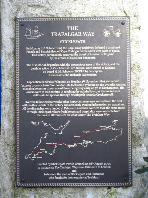 Trafalgar Way plaque at Sticklepath