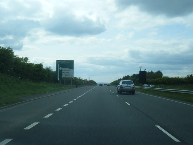 A48 approaches the junction for Nantycaws