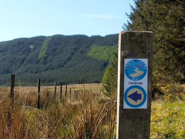 Three Lochs Way marker post