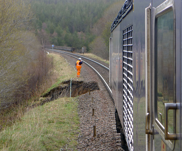 Landslip on Highland Line by Slochd