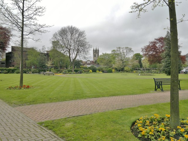 Memorial Gardens, Ashford, looking towards St Mary's church