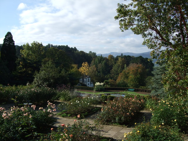 Above the Rose Terrace Bodnant Garden