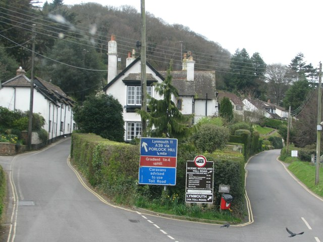 The bottom of Porlock Hill