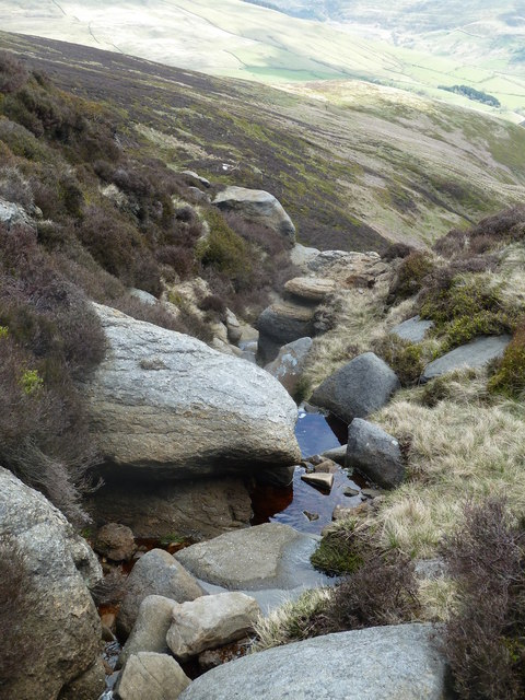 One of the streams from the plateau feeding Blackden Brook
