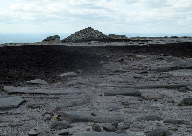 Kinder Low summit plateau and cairn