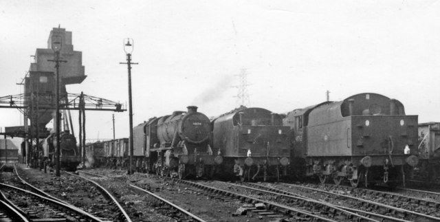 Locomotive Yard at Stoke in latter days of Steam, with just 'Black 8s'