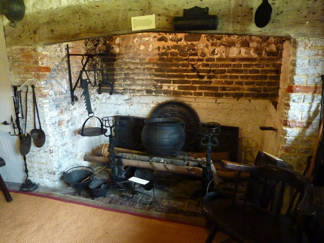 Tudor kitchen in Anne of Cleves' House, Southover, Lewes