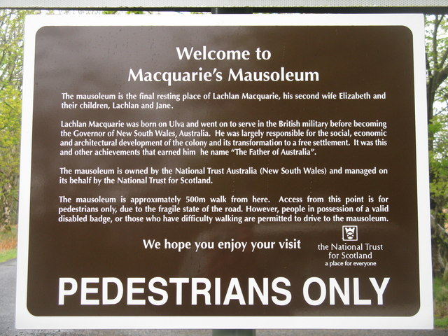 Sign to Macquarie's Mausoleum