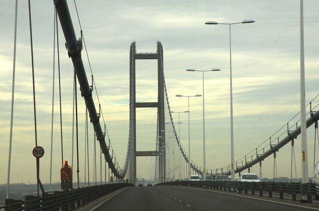 Heading south on the Humber Bridge
