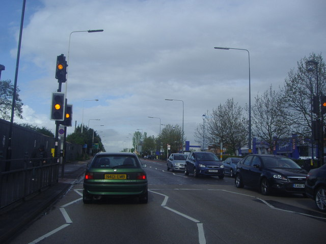 Pedestrian lights on Colchester Road, Harold Wood