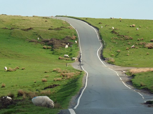 Minor road across Gelligaer Common