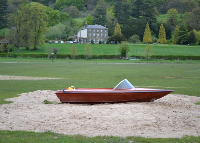 Incongruous speedboat near Brooklands, Bakewell
