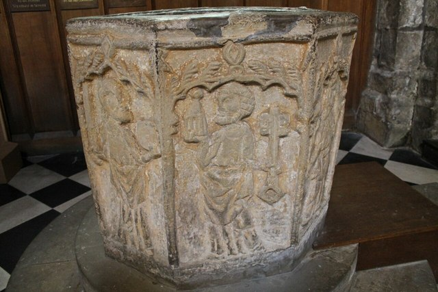 14th C. Font, All Saints' church, Bakewell