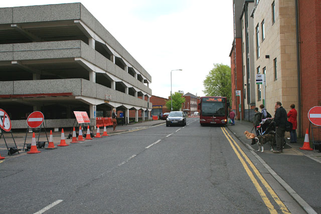 Temporary bus stops on Styring Street
