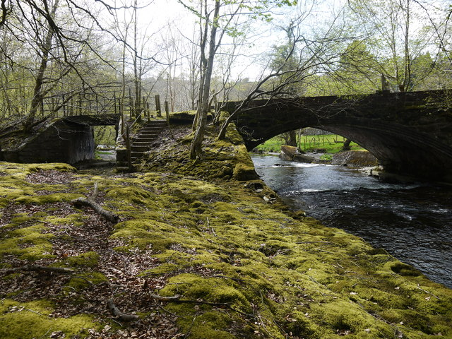 View of both disused railway bridges Wnion valley