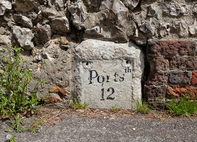 Painted milestone, Hambledon Road
