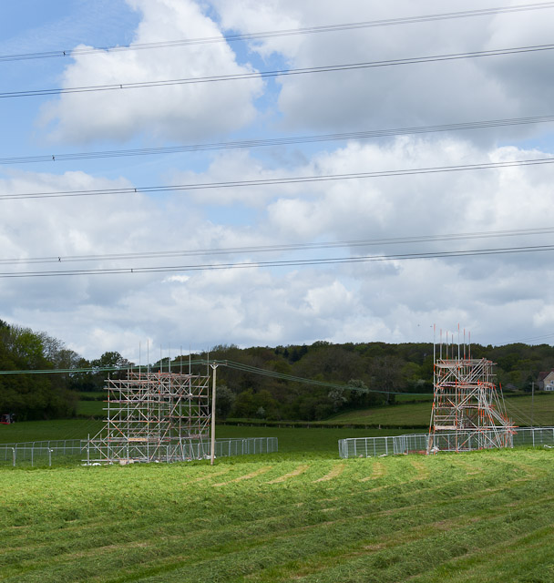Scaffolding beneath 400 KV electricity lines