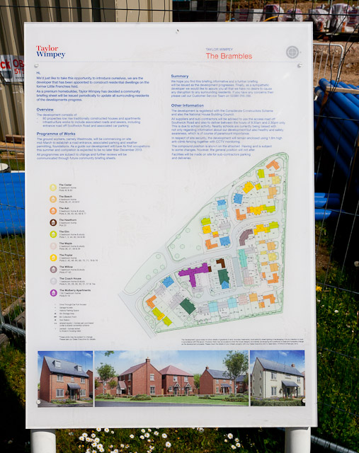 Housing development noticeboard on Frenchies Field