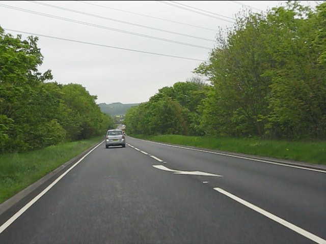 Power lines cross the A453 near Thrumpton