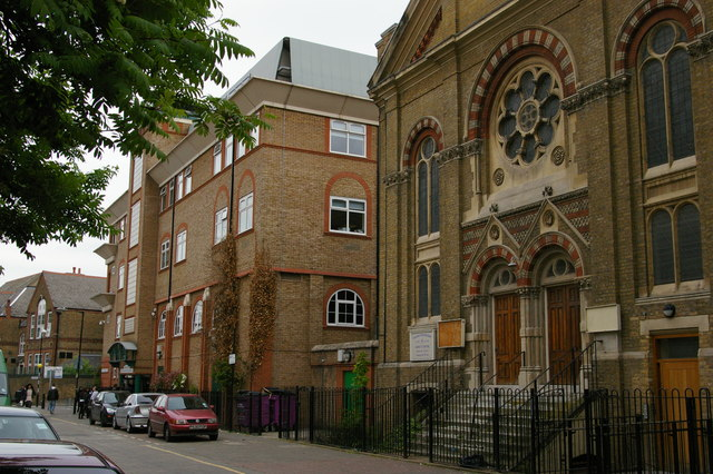 Mansford Street, E2: Unitarian chapel and Oaklands School