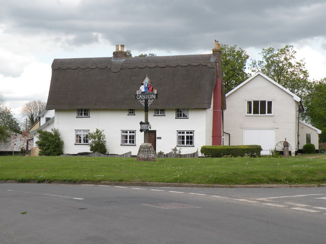 The village sign at Caston