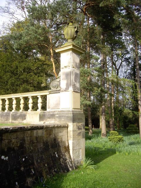 A stone urn on a parapet