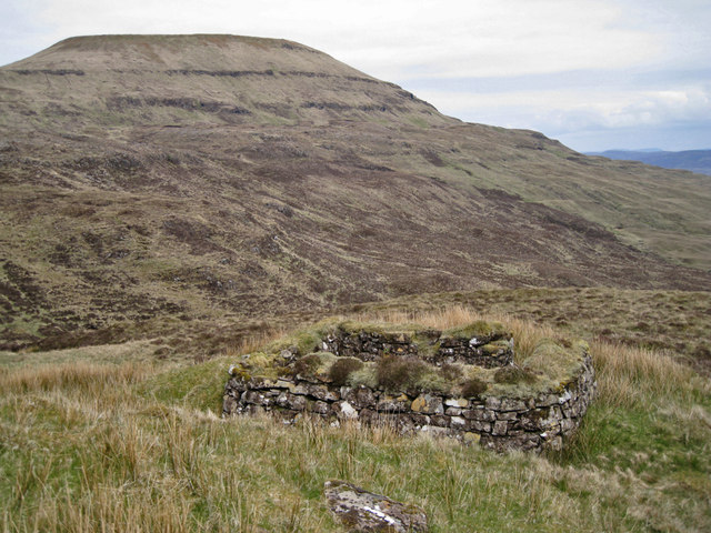 Ruin below Beinn na h-Uamha, close view
