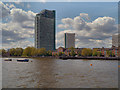 TQ3678 : River Thames, Aragon Tower by David Dixon