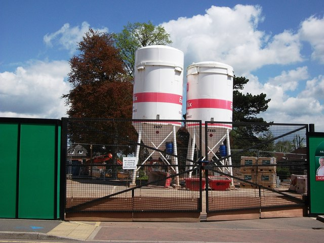 Dry Mortar silos on building site, Kenilworth
