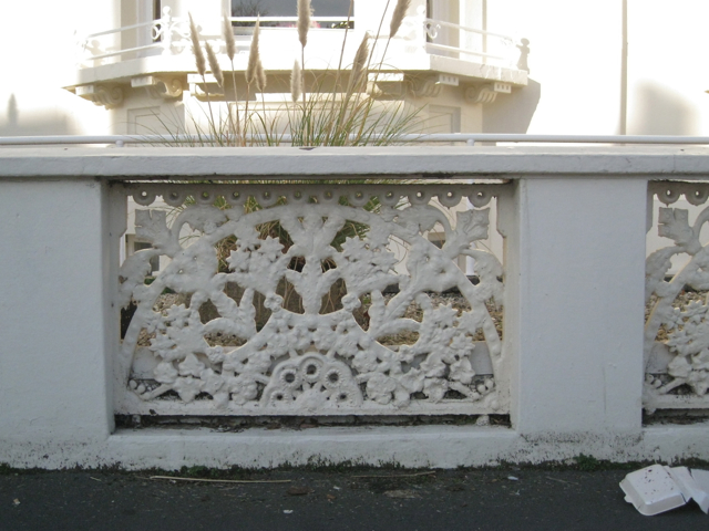 Perforated cast-iron screen in a wall, Heath Terrace