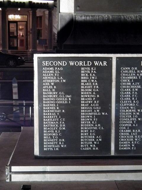 Weymouth War Memorial - Second World War panel A to C