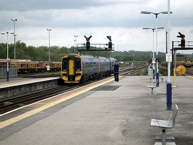 A train for Portsmouth Harbour departs from Westbury