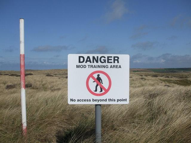 Danger, MOD Training Area, Penhale