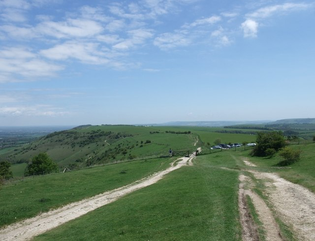 The South Downs Way approaching the car park at Ditchling Beacon