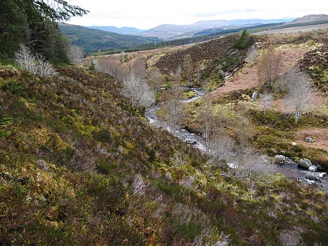 Allt a'Gharbh Bhaid flowing through Garbat forest