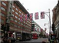 TQ2781 : Union Jacks in Oxford Street London by PAUL FARMER