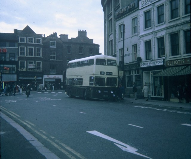 A bus in Market Place, Derby