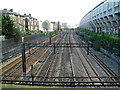 There is a mixture of power sources here - overhead electric lines and electrified third rails. 
