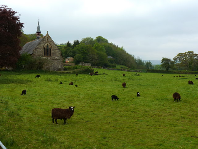 Church and a field, Avonwick, near South Brent