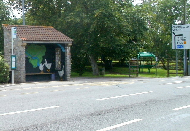 Front view of bus shelter artwork, Congresbury