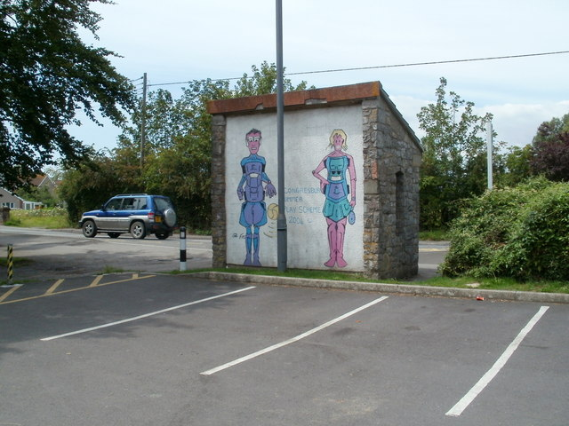 Back view of bus shelter artwork, Congresbury