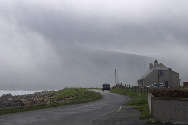 Haar encroaching on Beach Road, Haroldswick
