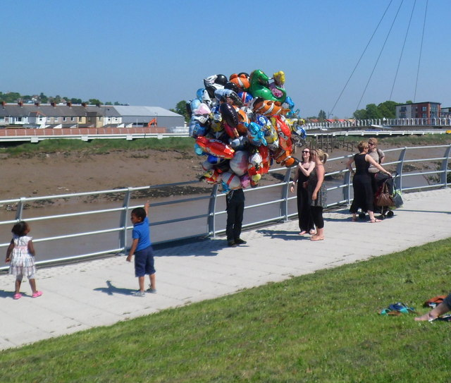 Balloons for sale on Olympic Torch relay day, Newport