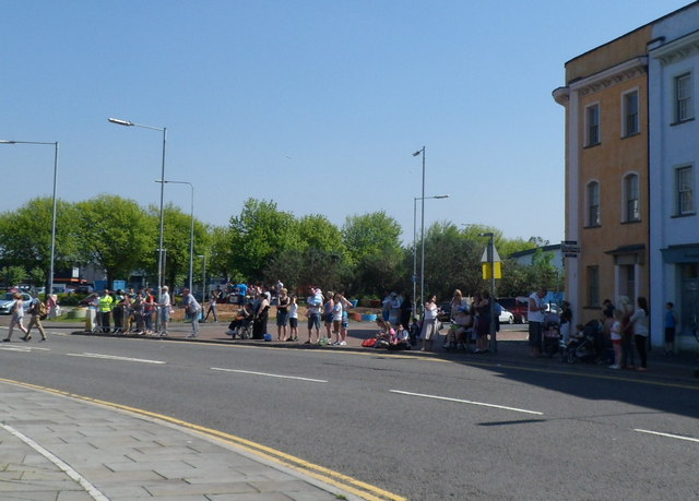 Waiting for the Olympic Torch relay near Octopus Roundabout, Newport